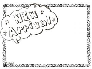 雲形のフキダシのNew Arrivalの手描き文字のフレーム(640×480pix)