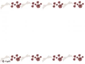 大人可愛いリボンと茶色の小花のラインのフレーム:640×480pix