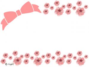 大人可愛いリボンとピンクの小花のラインのフレーム:640×480pix