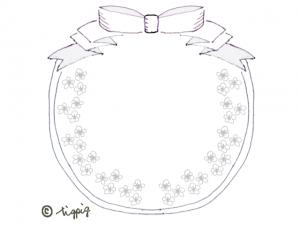 大人可愛いネットショップ制作に使えるリボンと小花の円形のフレーム