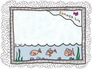 大人可愛い魚のイラストとSUMMER2014の手描き文字とレースフレーム:640×480pix