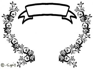 見出しのリボンと北欧風の花のモノトーンのフレーム(足付):640×480PIX