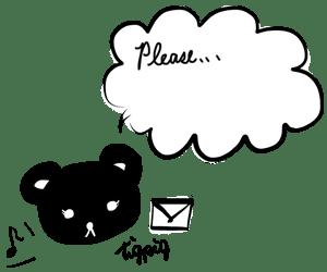 黒熊(テディベア)とPleaseの手書き文字のフキダシと音符とメール:300×250pix