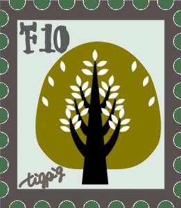 北欧風の木の切手風イラスト:400×460pix