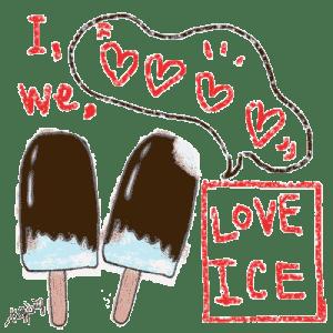 夏の無料素材-チョコレートの棒アイスとI LOVE ICEの手書き文字とフキダシ-透過png;400×400pix