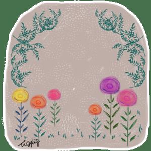 ヨーロッパの絵本のような北欧風の花と葉っぱのフレーム:400×400pix