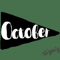 October(10月)の手書き文字のモノトーンのフラッグ(旗)風のwebデザイン素材:600×600pix