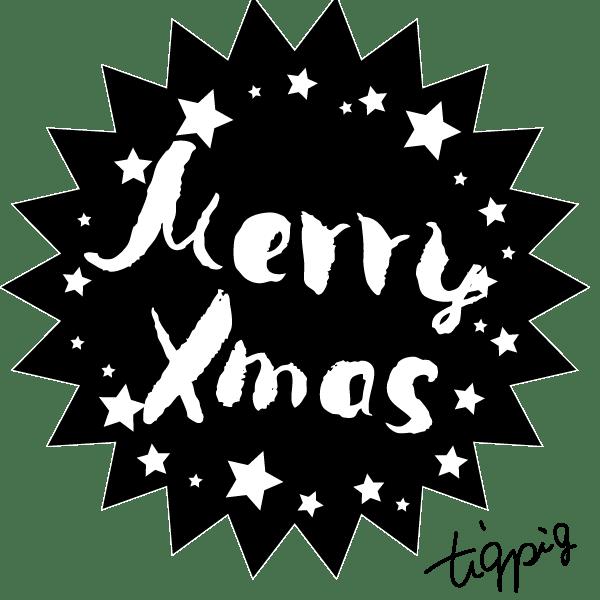 【クリスマス】Merry Xmasの手書き文字と星のモノトーンのラベル風webデザイン素材(パンク形):600×600oix