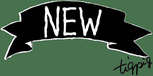 【NEW】NEWの手書き文字とモノトーンのリボン(バナー型)のwebデザイン素材:600×300pix