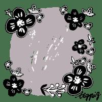 【フレーム】モノトーンの北欧風の小花とラフなグレイの丸の背景(600pix)