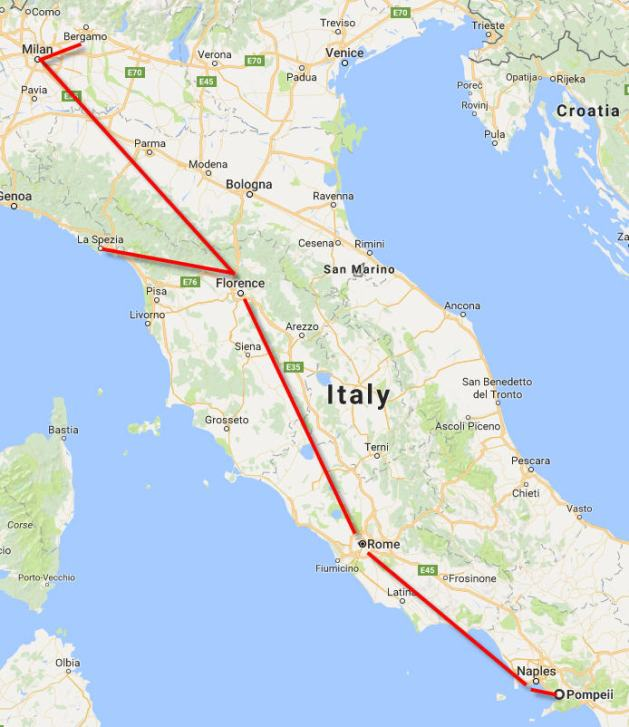 best way to see italy in a week map