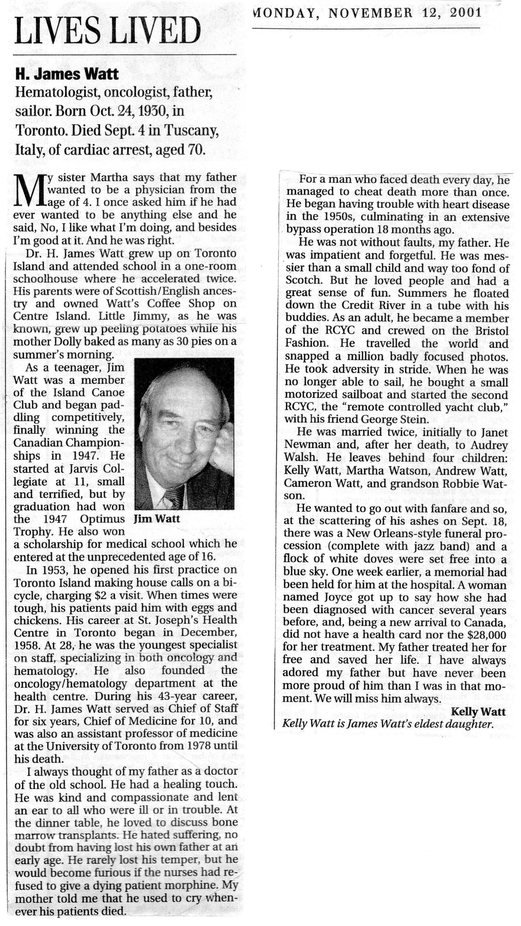 Obit-H. James Jim Watt Globe and Mail 2001-11-12