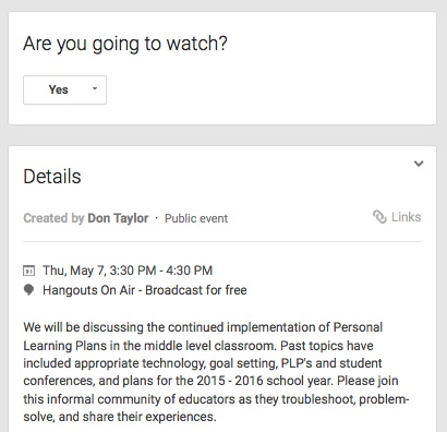 professional development through Google Hangouts