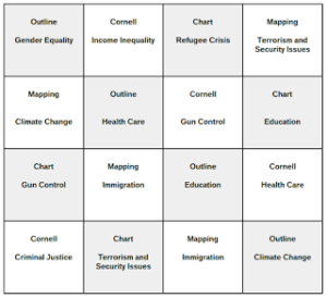 Shows 16 cells with a note-taking strategy and topic in each.
