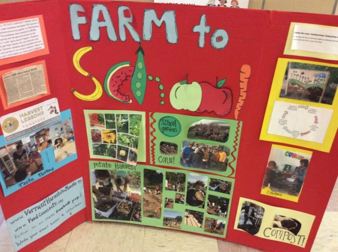The Farm to School movement makes a huge difference to schools across the state of Vermont. This Farm to School display is in the main hallway of Manchester Elementary Middle School, in Manchester VT.