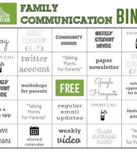 family communication bingo