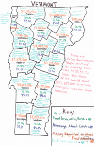 a map of food insecurity and meal costs in Vermont
