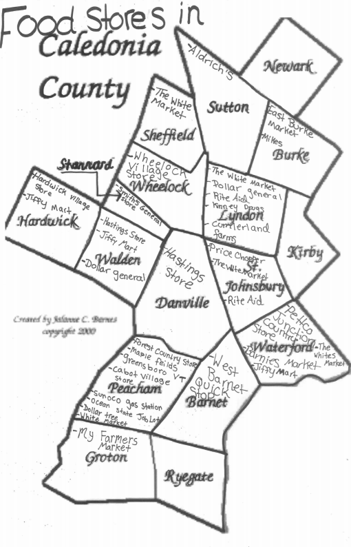 a map of food stores in Caledonia County