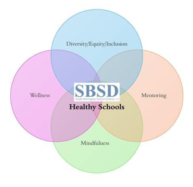 Venn diagram showing circles with wellness, mentoring, mindfulness, and diversity/equity/inclusion intersecting at healthy schools.