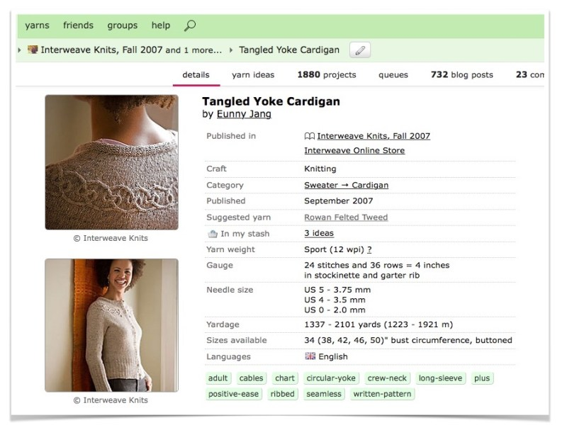 Eunny Jang's Tangled Yoke Cardigan pattern, as it appears on Ravelry. A perfect opportunity for knitting and algebra!