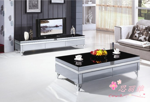 glass tv stand and coffee table set at