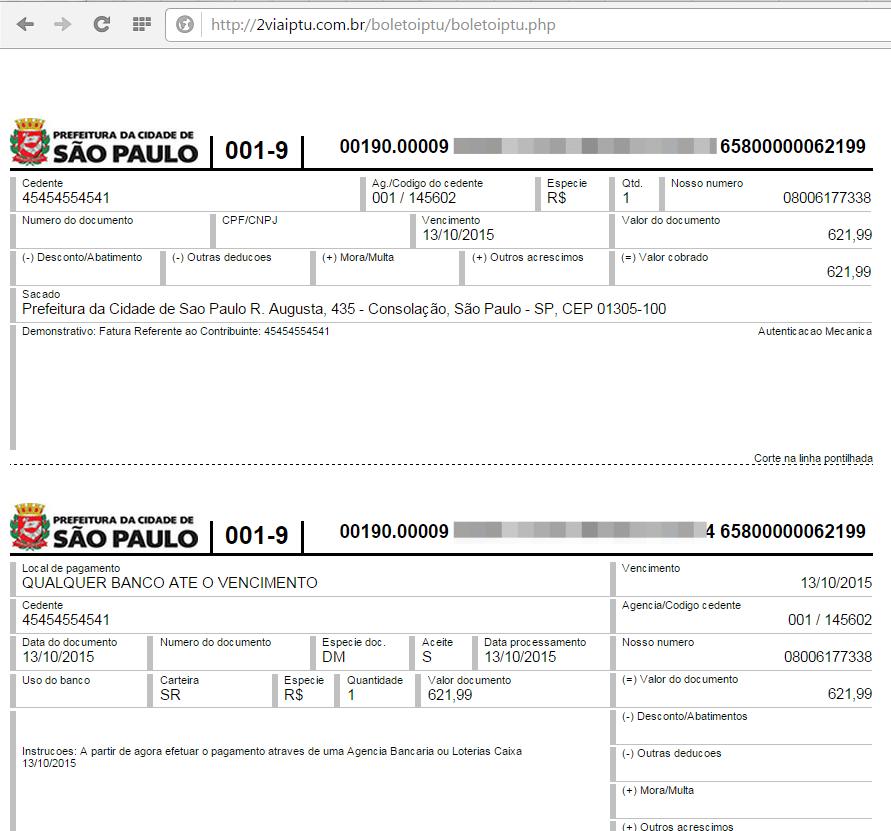 39c3c88bbd Falso boleto emitido pelo site  sem dados pessoais do contribuinte. Para  evitar este golpe
