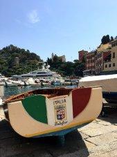 Portofino Italië: Roeiboot op de kade