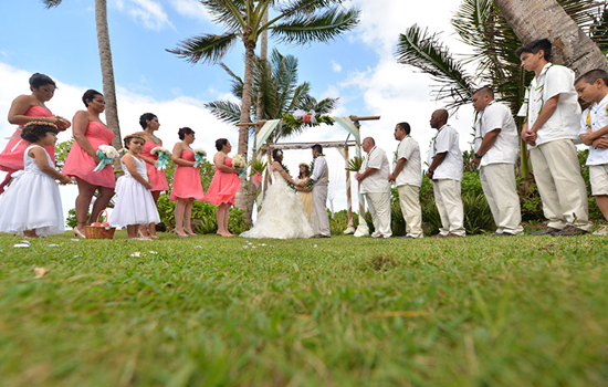 Wedding ceremony at Tiki Moon Villas