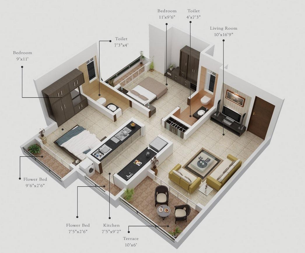 50 Planos De Apartamentos De Dos Dormitorios