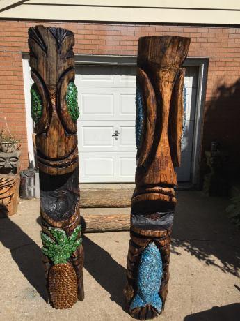 Ahiiha Tiki carved tikis