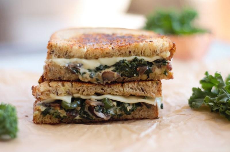 Jalapeño, Mushroom and Kale Grilled Cheese Sandwich