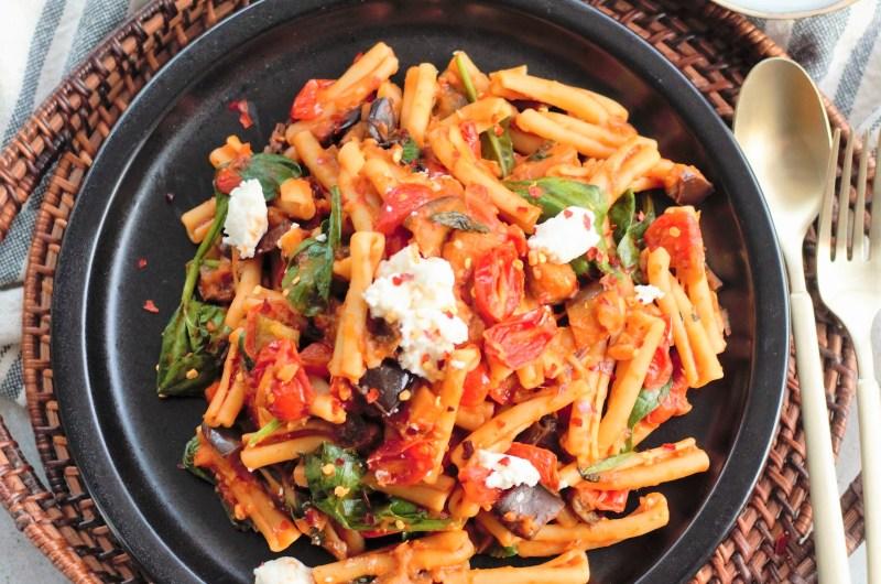 Eggplant & Spinach Pasta