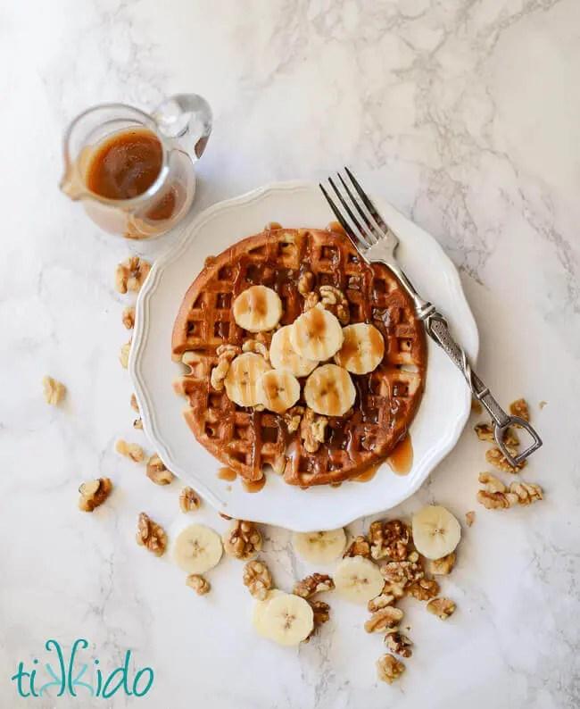 Banana Bread Waffles With Brown Sugar Caramel Syrup