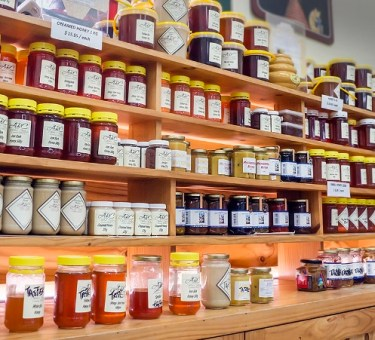 locally produced products on display at the historic abc cheese factory