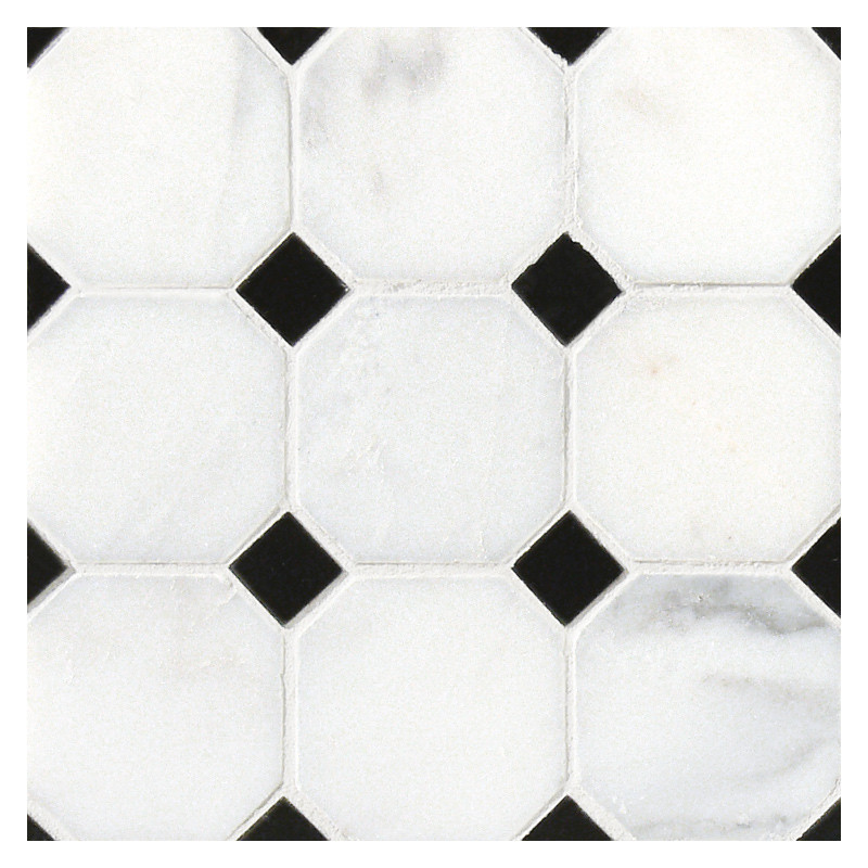 octagon with dot mosaic tile polished