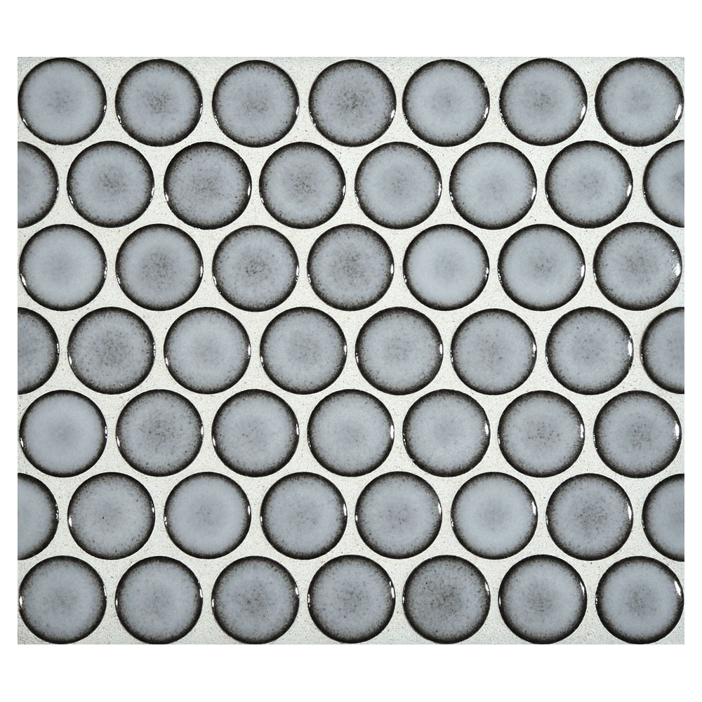 Penny Round Mosaic Blue Frost Gloss Complete Tile