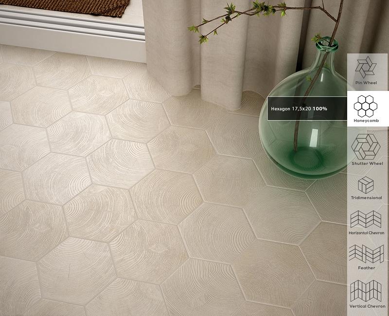 porcelain wall tile hexawood grey 7 x8