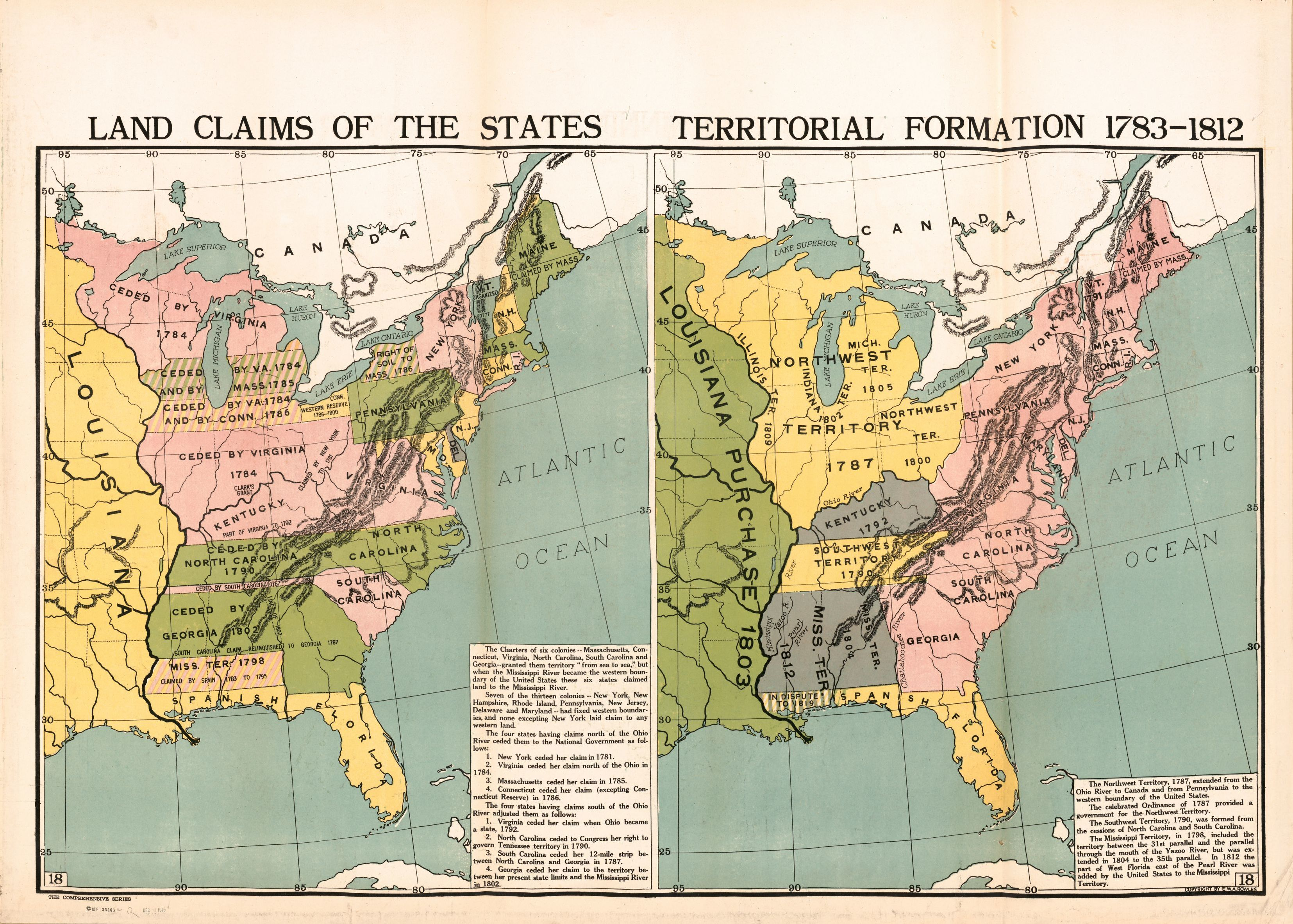 Land Claims of the States   Territorial Formation 1783 1812     Land Claims of the States   Territorial Formation 1783 1812   Library of  Congress