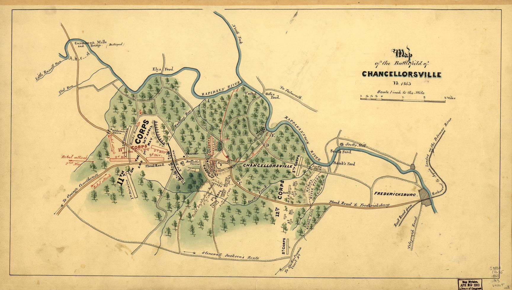 Map Of The Battlefield Of Chancellorsville Va