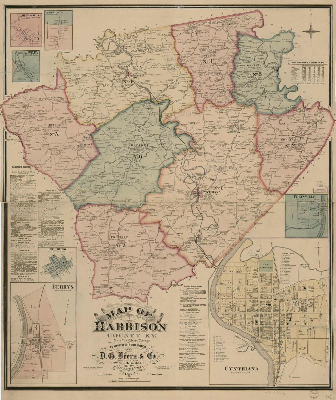 Map Of Harrison County Ky From New Amp Actual Surveys