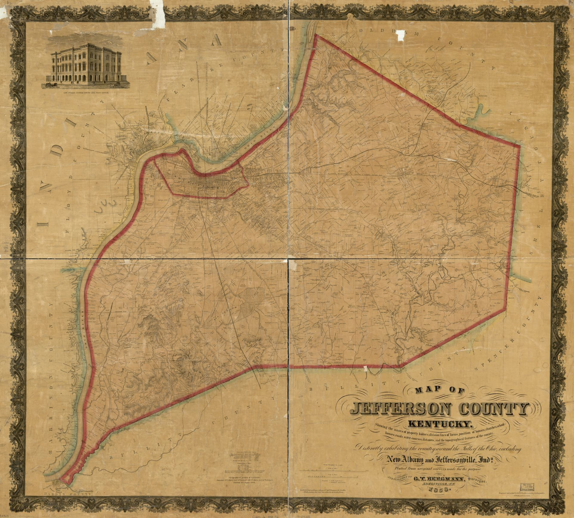 Map Of Jefferson County Kentucky Showing The Names Of