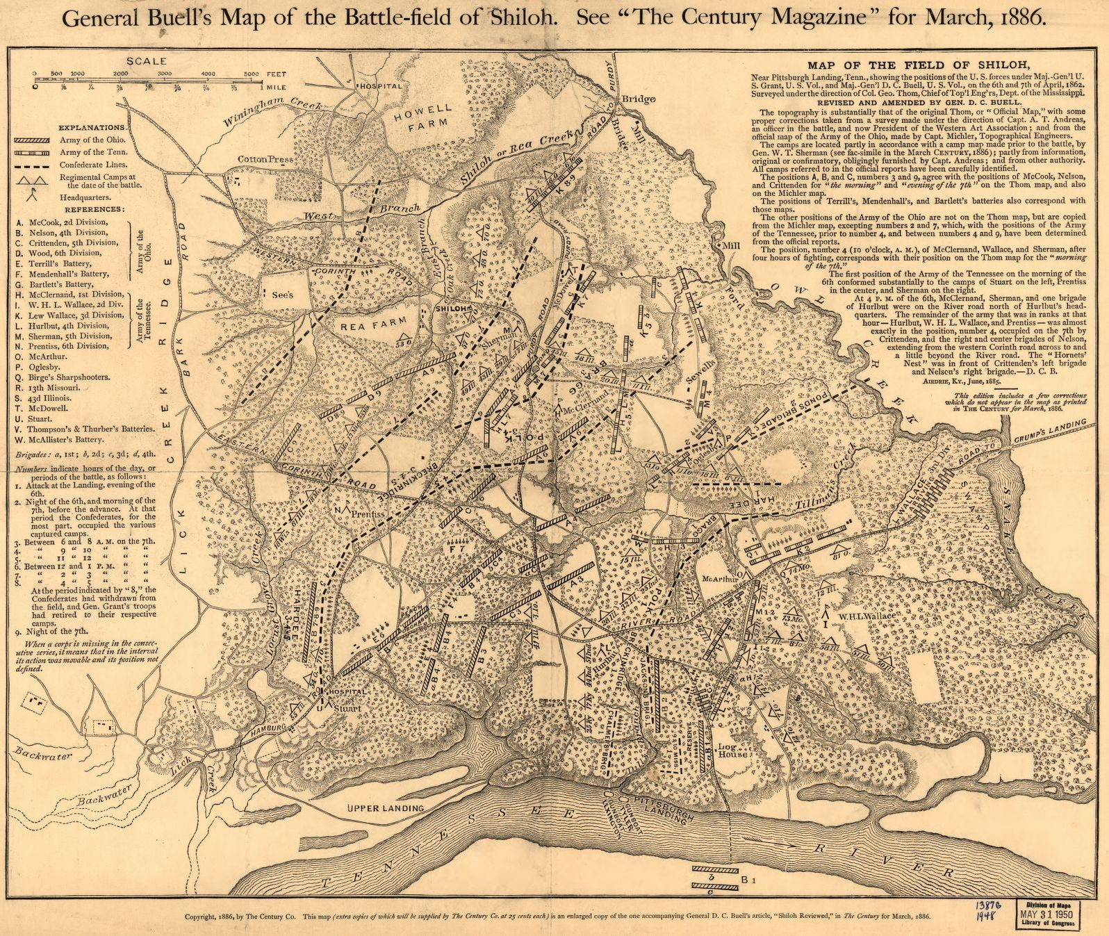 General Buell S Map Of The Battle Field Of Shiloh April