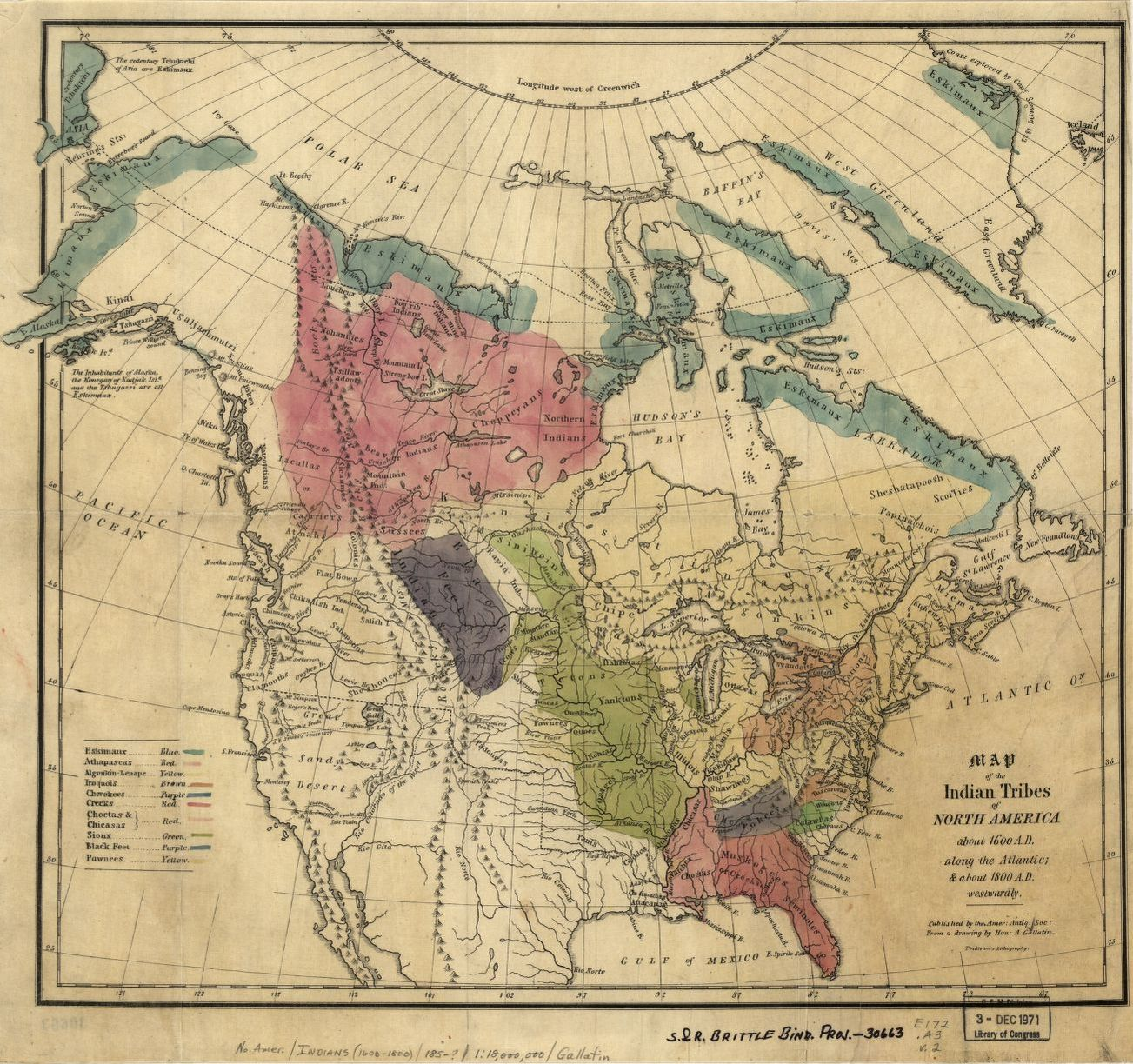 Map Of The Indian Tribes Of North America About A D