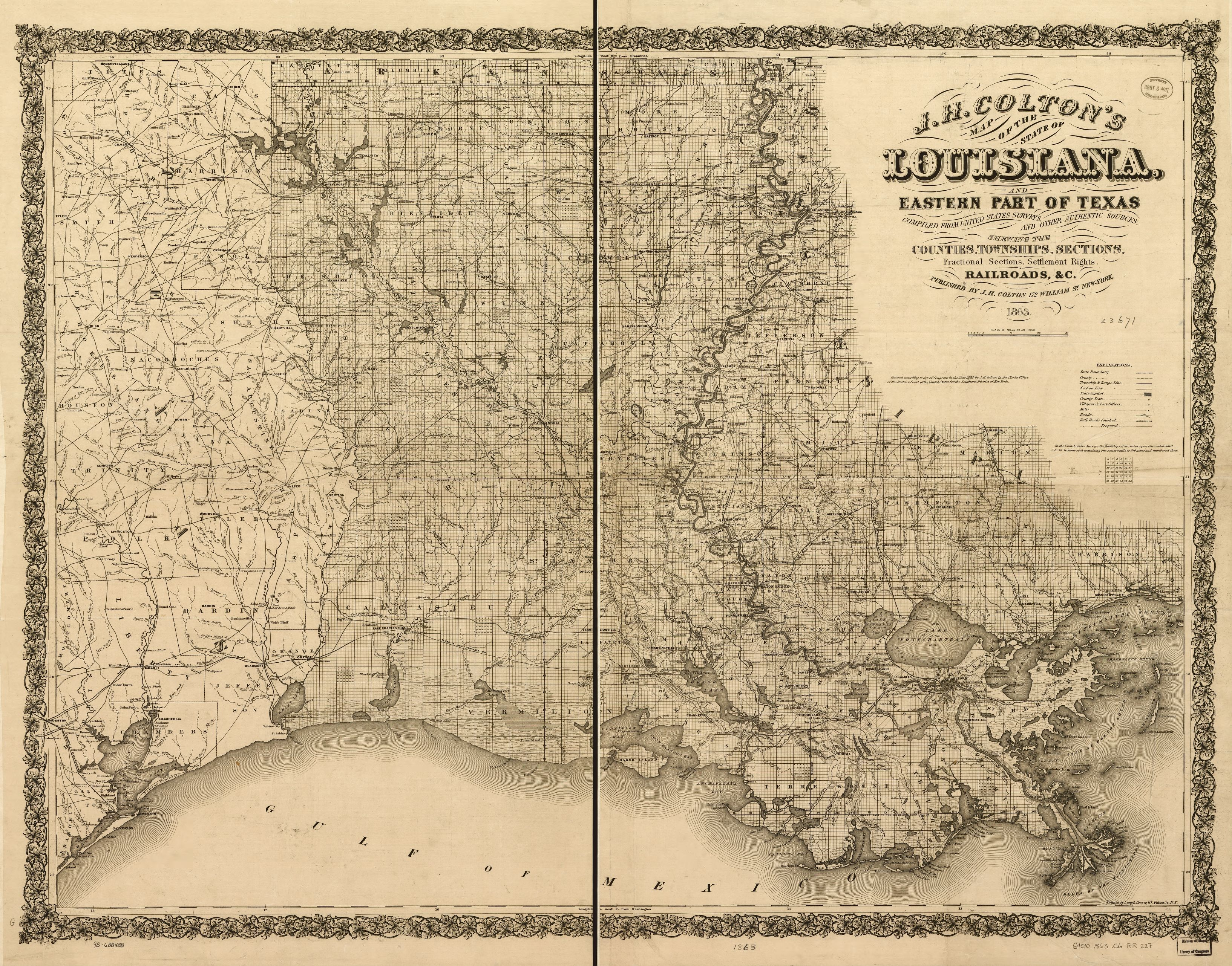 J H Colton S Map Of The State Of Louisiana And Eastern