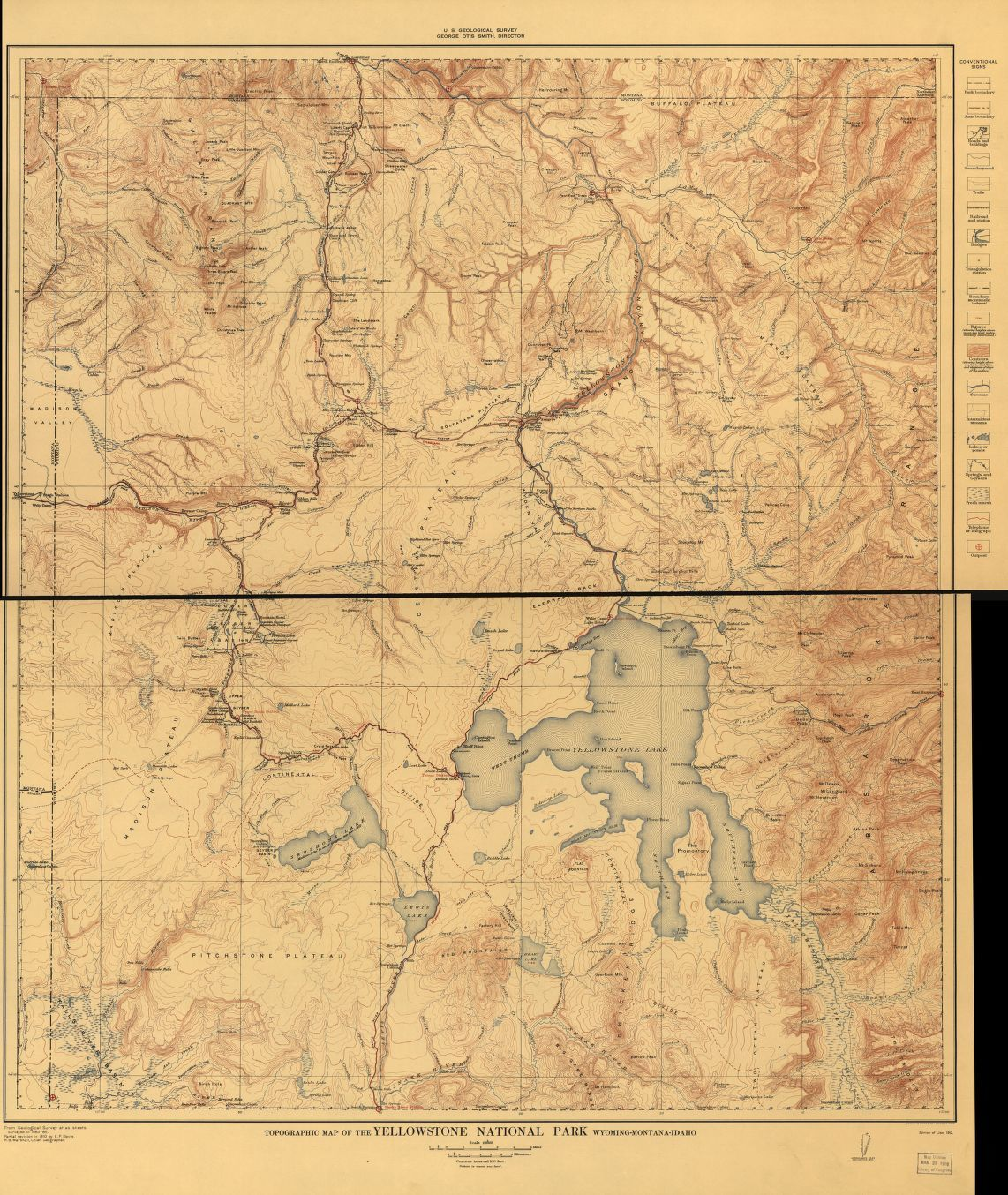 Topographical Map Of The Yellowstone National Park Wyoming Montana Idaho