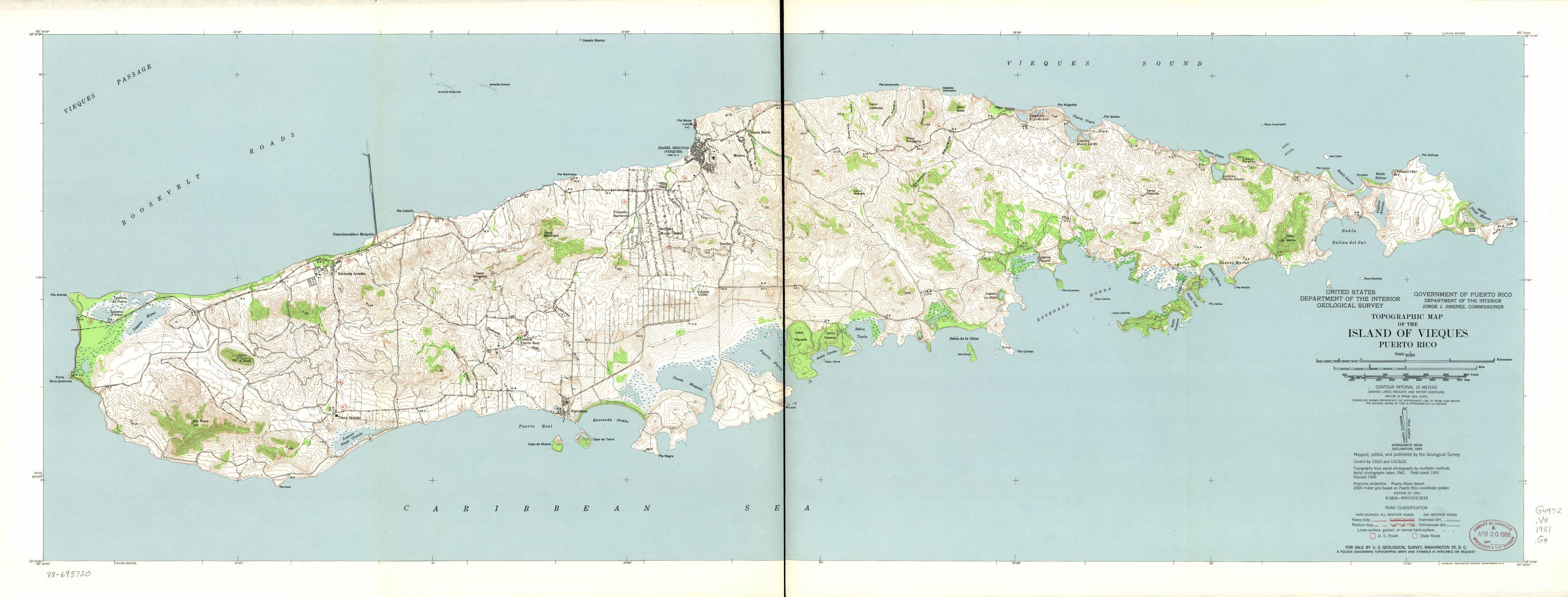 Topographic Map Of The Island Of Vieques Puerto Rico
