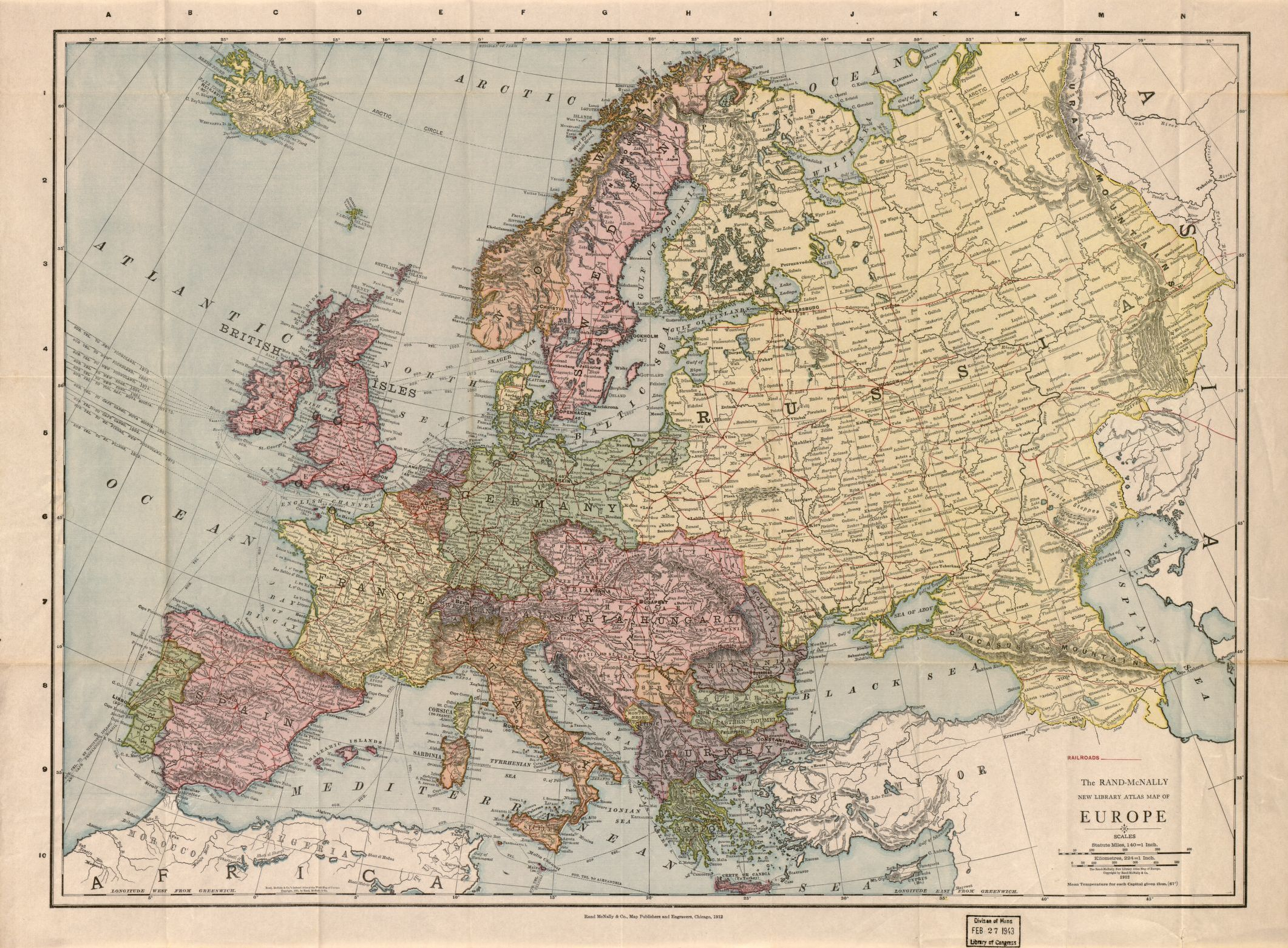 The Rand McNally new library atlas map of Europe   Library of Congress