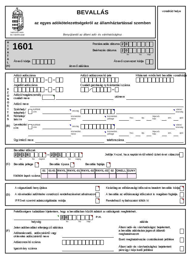 1601 - Bevallás egyes adókötelezettségekről