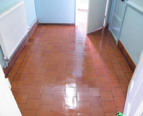 Cloakroom quarry tile after cleaning and sealing