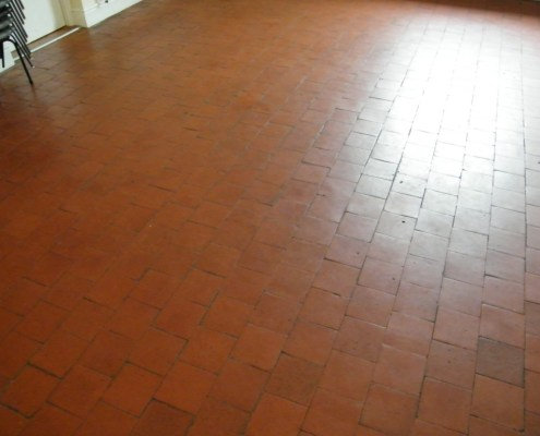 Quarry tile kitchen before cleaning